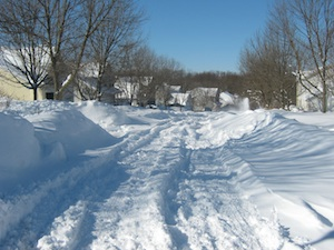 Unplowed side street